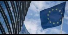 Parlamento y bandera de la Unión Europea