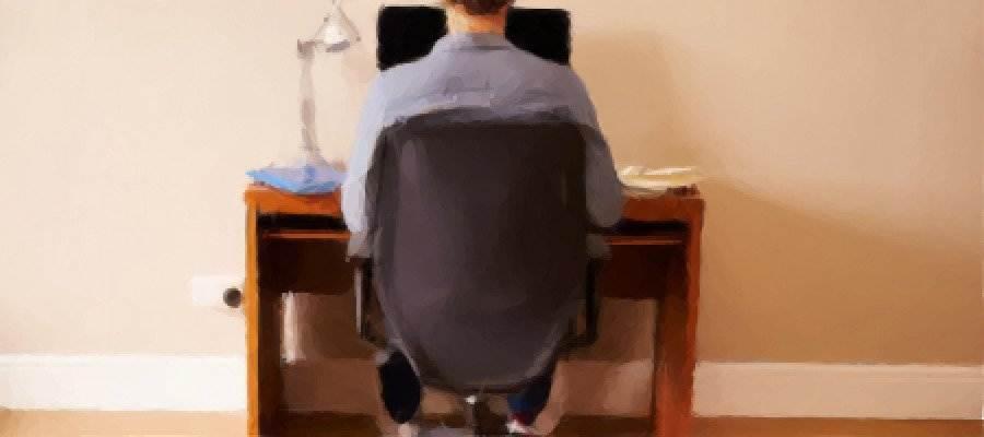 Persona de espaldas y frente a un ordenador