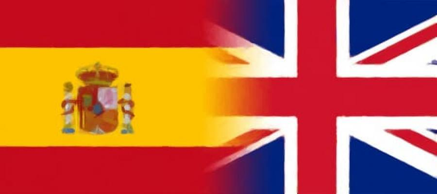 Unión de las banderas del reino de España y de Reino Unido