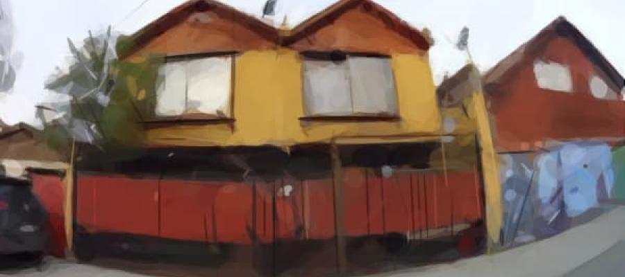 Dibujo de dos casas amarillas unidas