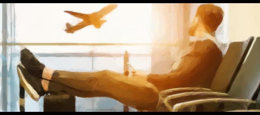 Dibujo de pasajero relajado en Aeropuerto