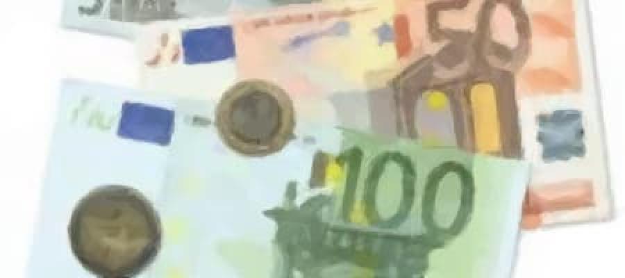 Dibujo de monedas y billetes de euro