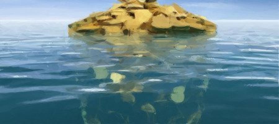 Montón de monedas en el mar