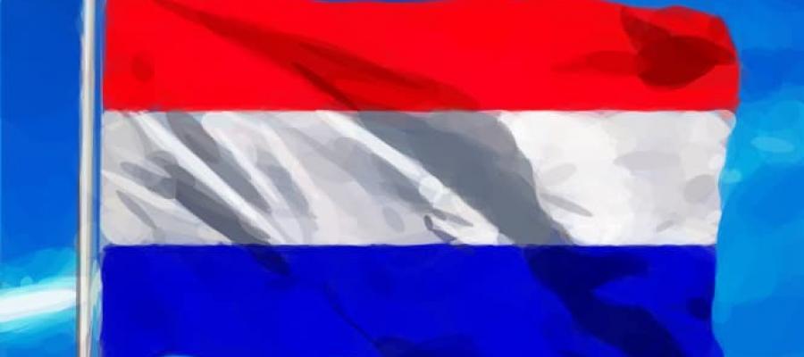 Bandera de los Países Bajos ondeando